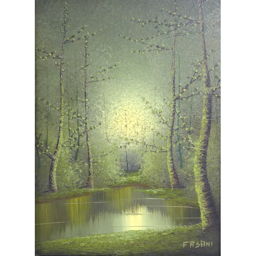 152 - Two modern oils on canvas landscapes, comprising a woodland scene, signed 'Fasani' lower left, 39 by...