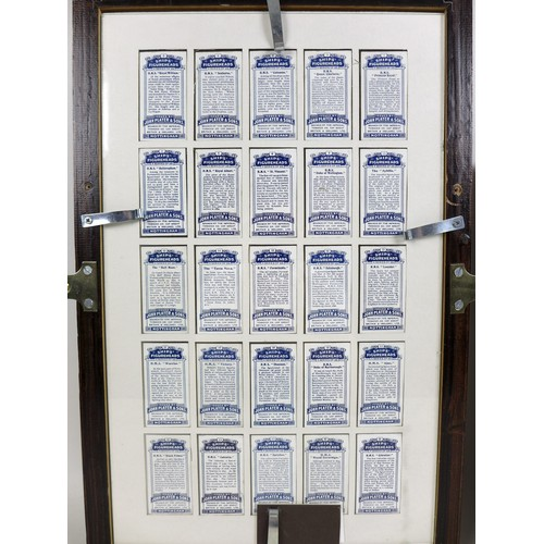 136 - A collection of framed vintage cigarette cards, comprising a group of 93 Will's cigarette cards, 'Ol...