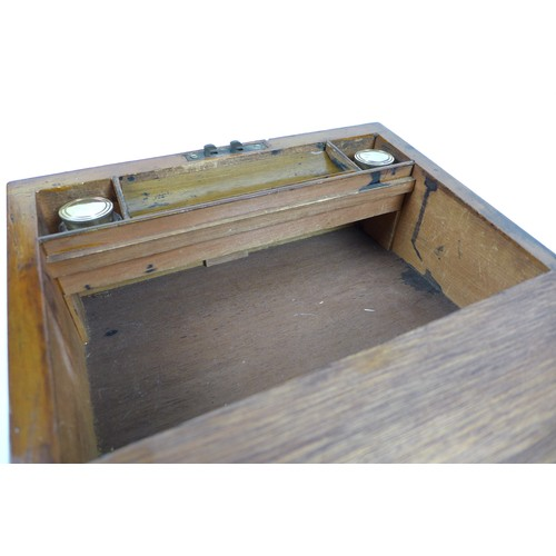 98 - A Tunbridgeware writing slope, with fitted interior including two brass topped inkwells, with key, 3...
