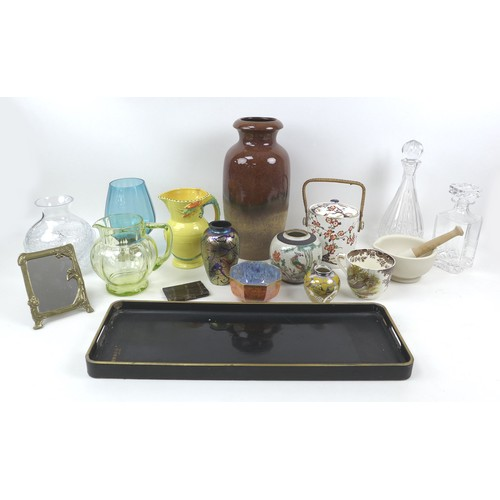 49 - A group of eighteen various collectables, ceramic and glass wares, including a Royal Brierley vase, ...