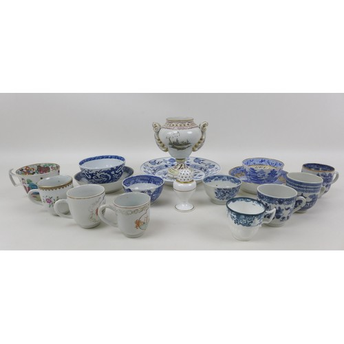 55 - A collection of sixteen European and Oriental porcelain, including a blue and white tea bowl with sa...