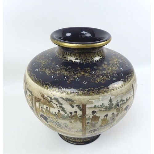 56 - A Japanese Satsuma vase, Meiji period, with possible baluster form decorated with a single panoramic...
