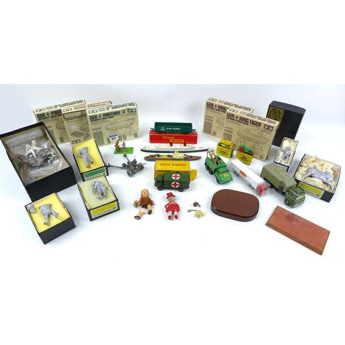 58 - A group of military die-cast model toys, including a Dinky Military Ambulance (626), a Britains Brit...