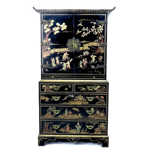 247 - A mid to late 20th century Chinoiserie press cupboard, in George III style, with black lacquer and g...