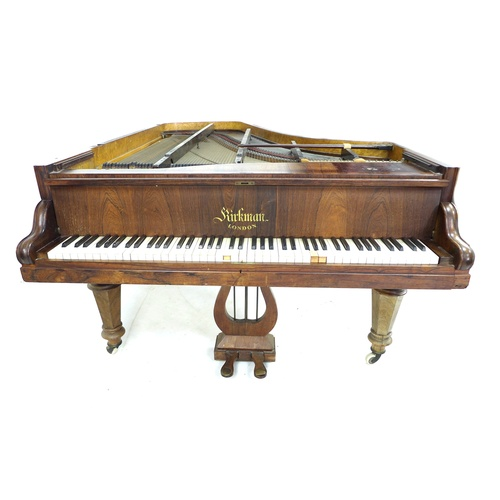 222 - A Victorian Kirkman parlour grand piano, circa 1870, with rosewood veneered case, wooden frame and b...