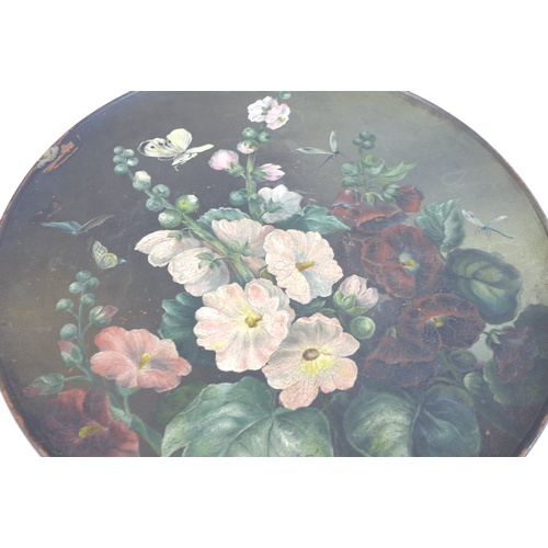 3 - A large Watcombe Torquay ware terracotta plate, hand painted with hibiscus flowers and insects, sign...