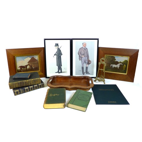 32 - A mixed group of prints and books, comprising two Spy prints, each glazed and framed, 40 by 26cm, tw...