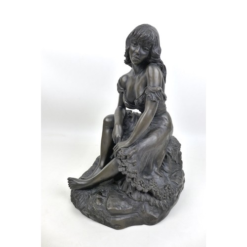 31 - Two modern bronzed figurines of ladies, one modelled as a lady dressed in a ball gown, unsigned, 30c...