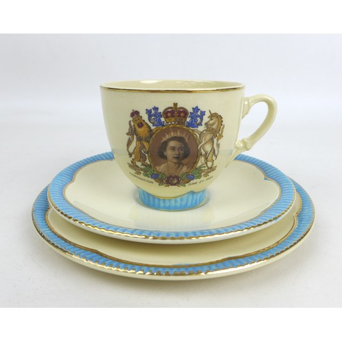 17 - A Clarice Cliff ERII coronation trio, with cup saucer and tea plate, together with other ERII corona...