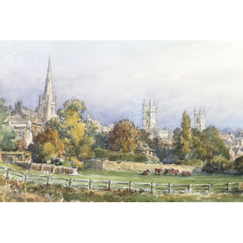 123 - Wilfrid Rene Wood (British, 1888-1976): a view of Stamford from Stamford Meadows, watercolour, signe...