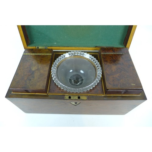 37 - A 19th century burr walnut tea caddy, with boxwood inlays, its interior with attached note '..from G...