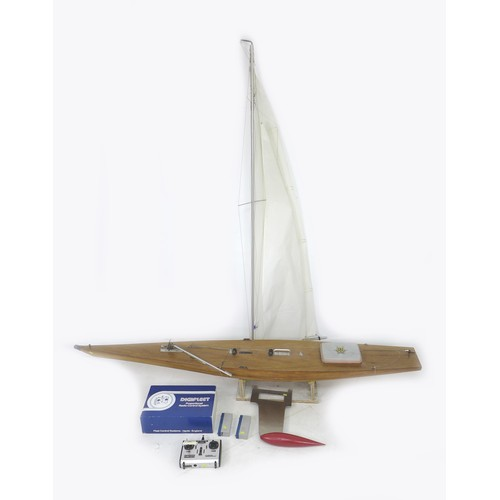 62 - A large scratch built wooden model remote controlled boat, with a Digifleet proportional radio contr...