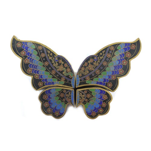 54 - An early to mid 20th century, four cloisonne enamel lidded trinket boxes forming a butterfly, each b...