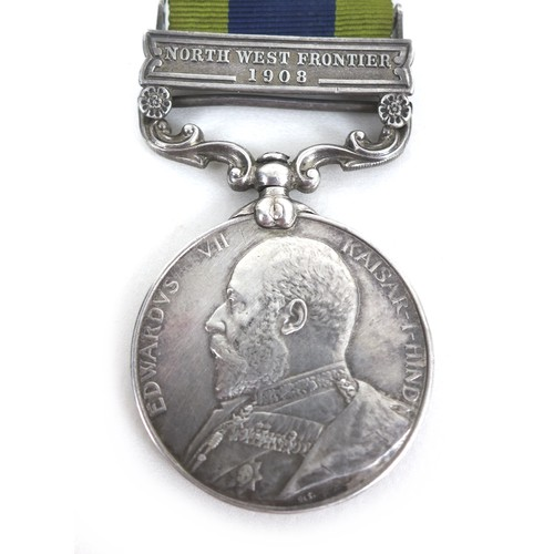 69 - An Edward VII General Service Medal with 1908 North West Frontier clasp, bearing heavily rubbed name...