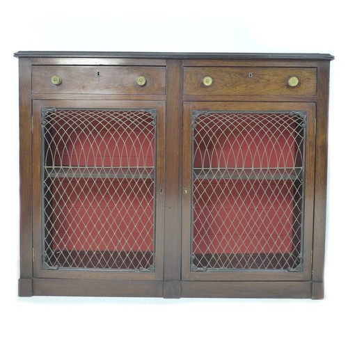 224 - A 19th century rosewood veneered bookcase, in Arts & Crafts style, the upper section with plain corn...