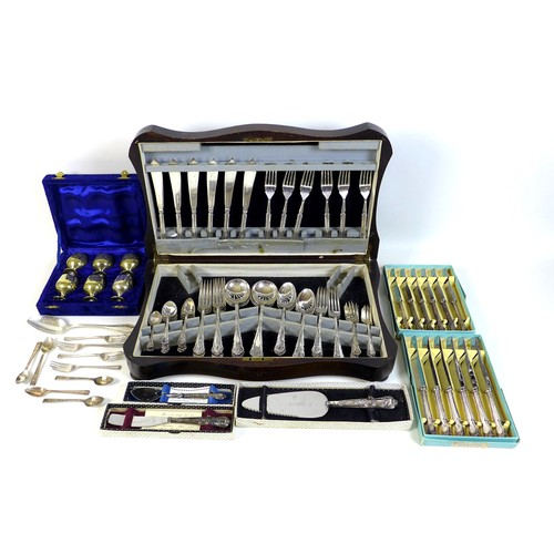44 - An oak veneered canteen of silver plated cutlery, circa 1920, Dubarry pattern, six place settings, 5...