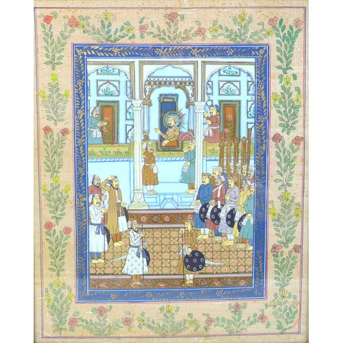 124 - A near pair of Islamic paintings, one depicting a court scene, the other believed to show Mecca, eac...