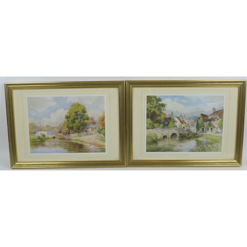 104 - A group of pictures, comprising a print after Russell Flint, 23.3 by 33cm, mounted, glazed and frame...