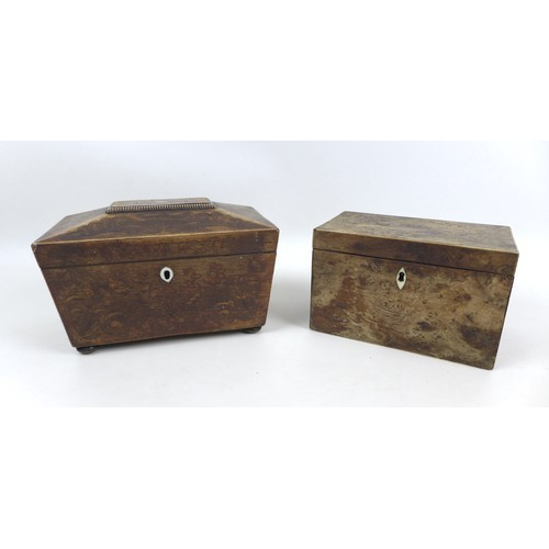 36 - Two 19th century tea caddies, one mahogany sarcophagus shaped with inlaid decoration, 22.8 by 13.5 b...