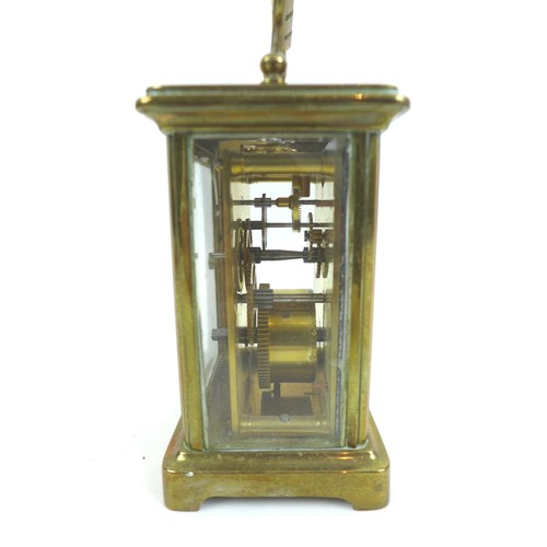 42 - A 19th century brass carriage clock, five glass case, 8 by 6.5 by 12cm high (with handle down), in l...