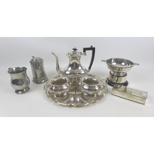 43 - A group of six silver plated items, comprising a three piece tea service, a lidded box, 16.2 by 6.4 ...