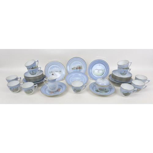 13 - A collection 1980s Bing & Grondahl Copenhagen, landmarks pattern porcelain coffee wares, comprising ...