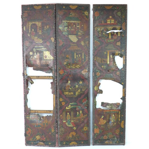 223 - A 19th century painted leather panel, originally from a room screen, decorated in Chinese style with...