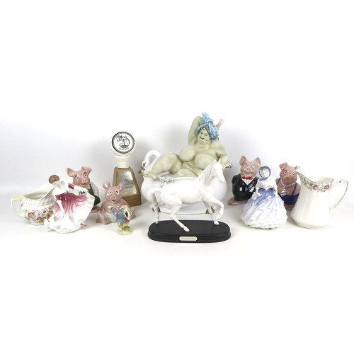 14 - A group of modern ceramics, comprising a Beswick figure, Tommy Brock, a Royal Doulton figurine, My B...