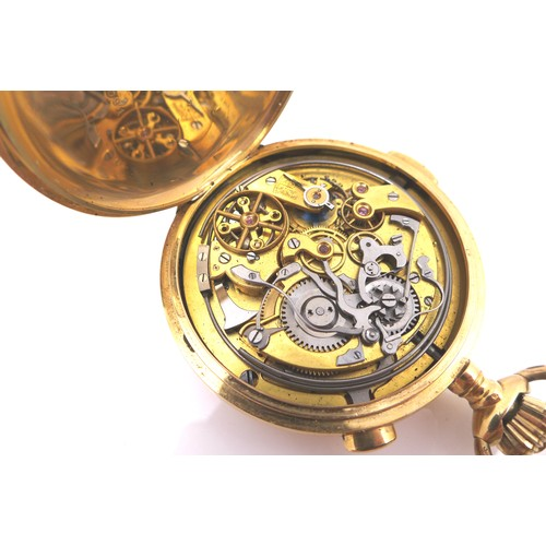 107 - A Swiss Le Phare 18ct gold cased quarter repeating chronograph full hunter pocket watch, circa 1900,...