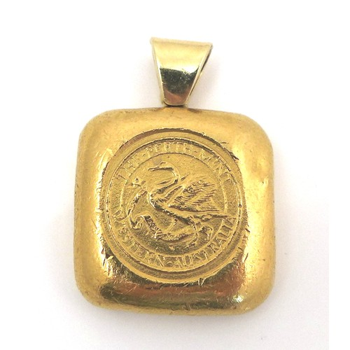 260 - An Australian 1oz 9999 fine yellow gold bullion bar pendant, of square form with loop pendant attach...