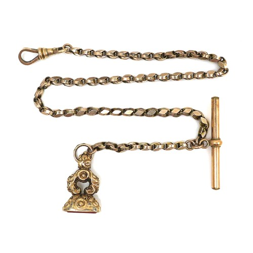 251 - A 9ct gold fob chain, with T bar and seal, clasp attached, 34cm long, the unmarked yellow metal seal...