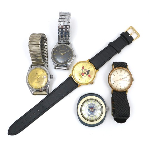 108 - A group of five wristwatches, comprising a German Dugena Fongster chrome plated wristwatch, on expan...