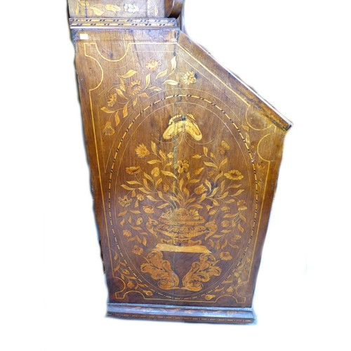 322 - A Dutch 19th century marquetry bureau bookcase, with arched moulded cornice above twin glazed doors ...