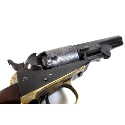 134 - A London marked Colt pocket revolver, five shot patent 1849 type, 4 inch or 10cm octagonal barrels, ...