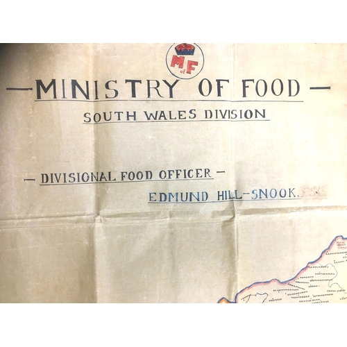 135 - A large WWII 'Ministry of Food- South Wales Division' vellum map, bearing signed  handwritten date '...