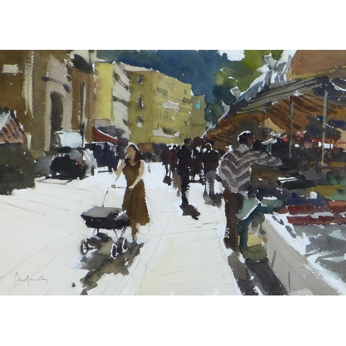 230 - John Yardley (British, b. 1933): 'Fruit Stalls - Nice', signed lower left and dated 1997, watercolou...