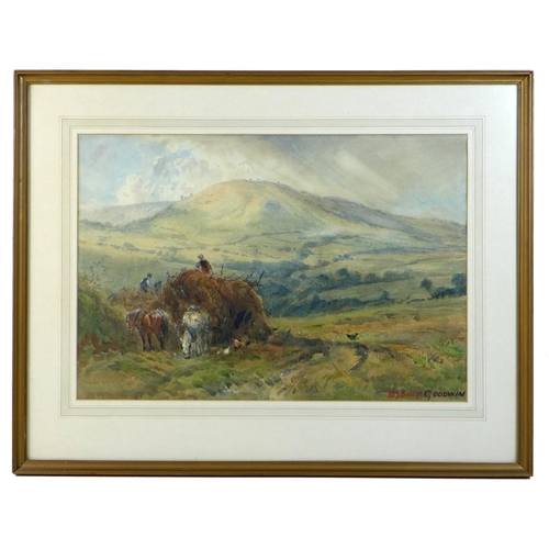 232 - Sydney Paul Goodwin (British, 1867-1944): 'Haymaking in the Welsh Hills', signed in red lower right,...