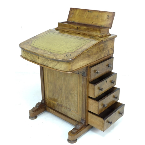 358 - A late Victorian walnut Davenport, with marquetry inlaid top, a leather inset to its writing slope, ...