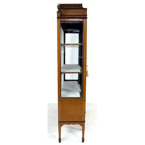 359 - An Edwardian Sheraton style satinwood veneered breakfront display cabinet, the whole with painted de...