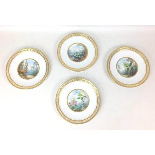 77 - A set of four late Victorian Mintons plates, decorated with hand painted scenes from nature, surroun...