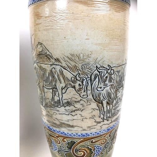 78 - Hannah Bolton Barlow (British, 1851-1916) for Royal Doulton Lambeth, a pair of stoneware vases, deco...