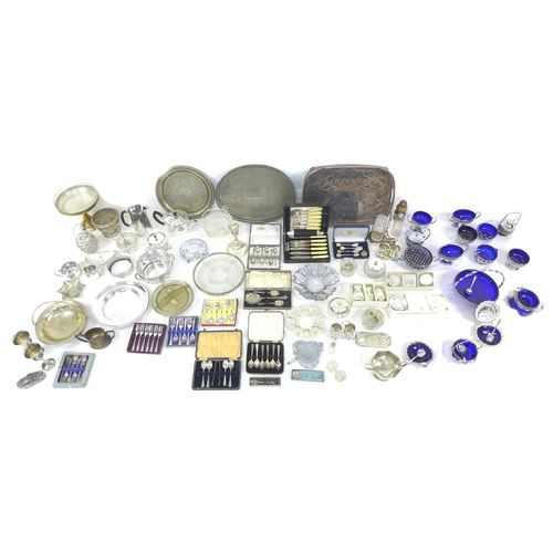 79 - A collection of silver plated and metal items, mostly Edwardian and later, including trays, comport,...