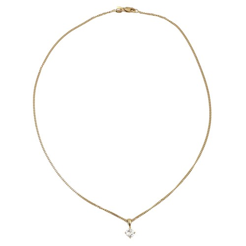 398 - An 18ct yellow gold diamond solitaire pendant necklace, the 0.55ct, 5.5 by 3mm, brilliant cut stone ...