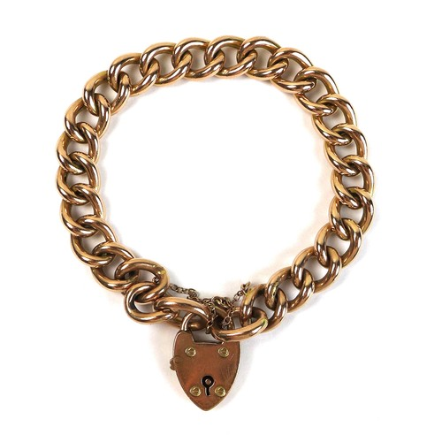 377 - A 9ct gold chain bracelet with padlock clasp, 18.6cm long overall, 17g.
