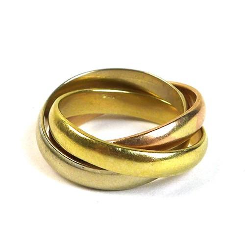328 - A Russian tri yellow metal wedding ring, size J/K, 7.7g