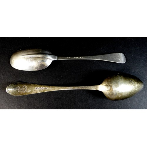 59 - Two 19th century silver table spoons, comprising a George III Scottish silver table spoon, engraved ...