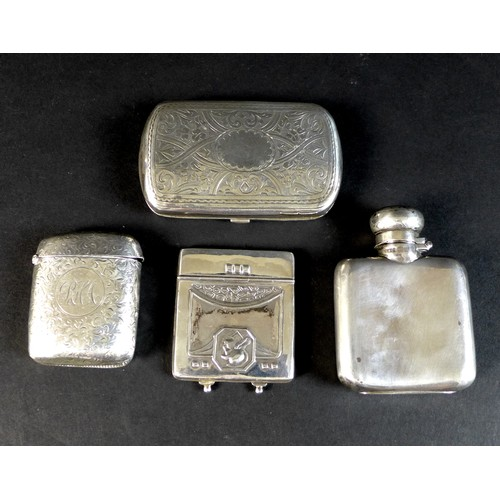 73 - Four Victorian and later silver items, comprising a Victorian card case of oblong form with blank ca...