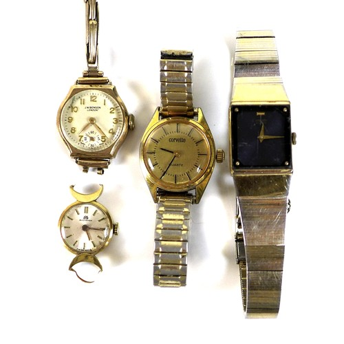 218 - A 18ct gold cased Bucherer lady's wristwatch, circular dial with baton numerals, numbered 37325, a/f...