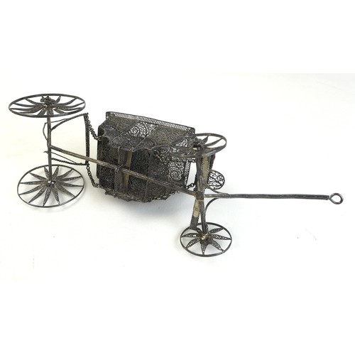 62 - A 19th century silver filligree coach, with inscription to its base 'John William Spencer Brownlow C...