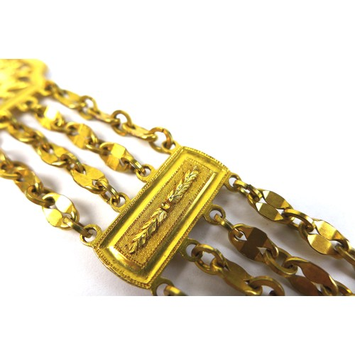 216 - A late 18th century Continental gold plated fob chain, of fancy design with five rows of chain links...